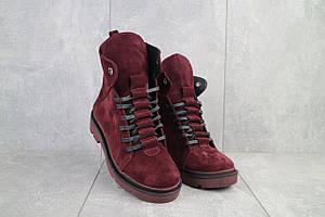 Женские ботинки замшевые зимние красные Vikont 7-10-51