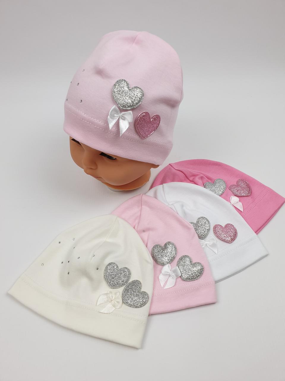 Детские демисезонные трикотажные шапки для девочек оптом, р. 40-42, Польша