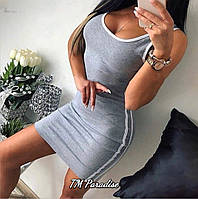 Женское летнее облегающее мини платье майка с полосками черное серое короткое 42-44 44-46 хлопок спортивное