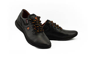 Мужские кроссовки кожаные весна/осень черные Yavgor 938