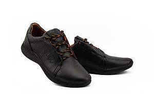 Мужские кроссовки кожаные весна/осень черные Yavgor 701