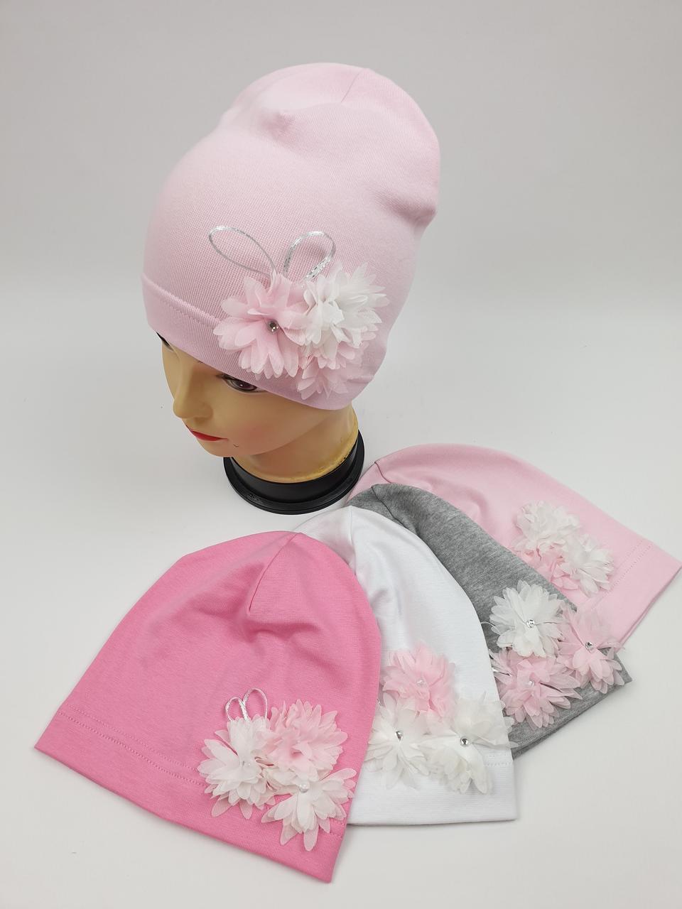 Детские демисезонные трикотажные шапки для девочек оптом, р.46-48, 50-52, Польша