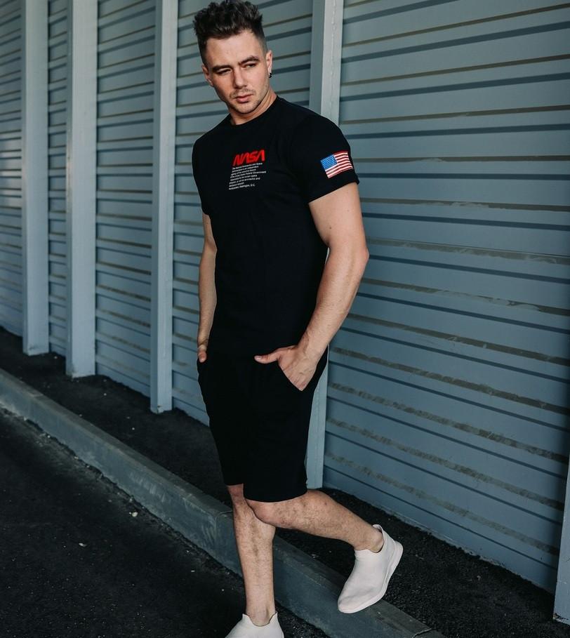 Мужской комплект летний футболка + шорты костюм летний Nasa черный Турция. Живое фото