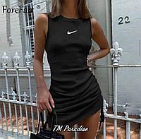 Женское летнее облегающее мини платье майка с наклейкой черное бежево короткое 42-44 44-46 хлопок коктейльное