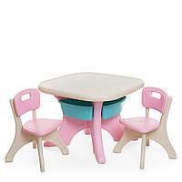 Пластиковий столик з 2 стільцями Bambi ETZY-8   69*69*50 см, бежево-рожевого кольору