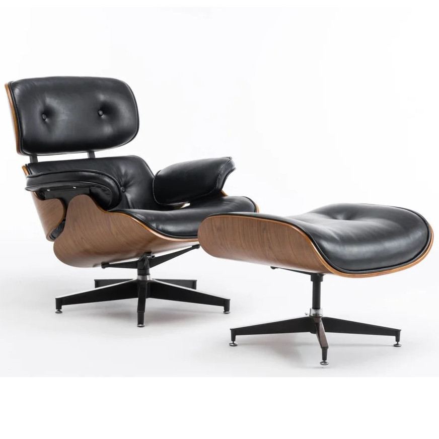 Офисное компьютерное кресло Avko Style Retro ALS 01 Black с пуфом для дома