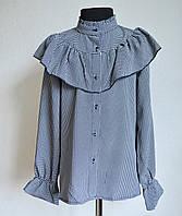 Детская школьная блузка на девочку 9 -13 лет, серого оттенка