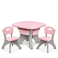 Пластиковий столик з 2 стільцями Bambi NEW TABLE-8   69*69*50 см, сіро-рожевого кольору