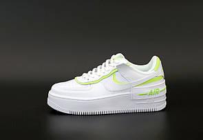Женские кроссовки Nike Air Force Shadow White Neon Green