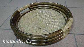 Піднос круглий з ротанга (колір олива)