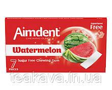 Жувальна гумка без цукру зі смаком кавуна Aimdent WATERMELON, 7 шт/уп (жевачка, жуйка)