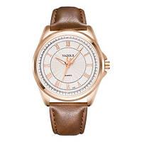 Мужские Оригинальные наручные часы Yazole Quartz 336 Cuprum-White-Brown