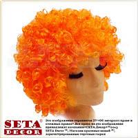 Оранжевый парик клоунский кудрявый