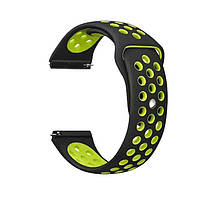 Спортивный ремешок Primolux Perfor Sport с перфорацией для часов Garmin Vivoactive 4 - Black&Green