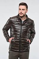 Мужская стильная короткая осенняя стеганая куртка с воротником стойкой