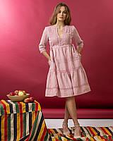 Рожева сукня з мереживом MEREZHKA Філадельфія розмір 48