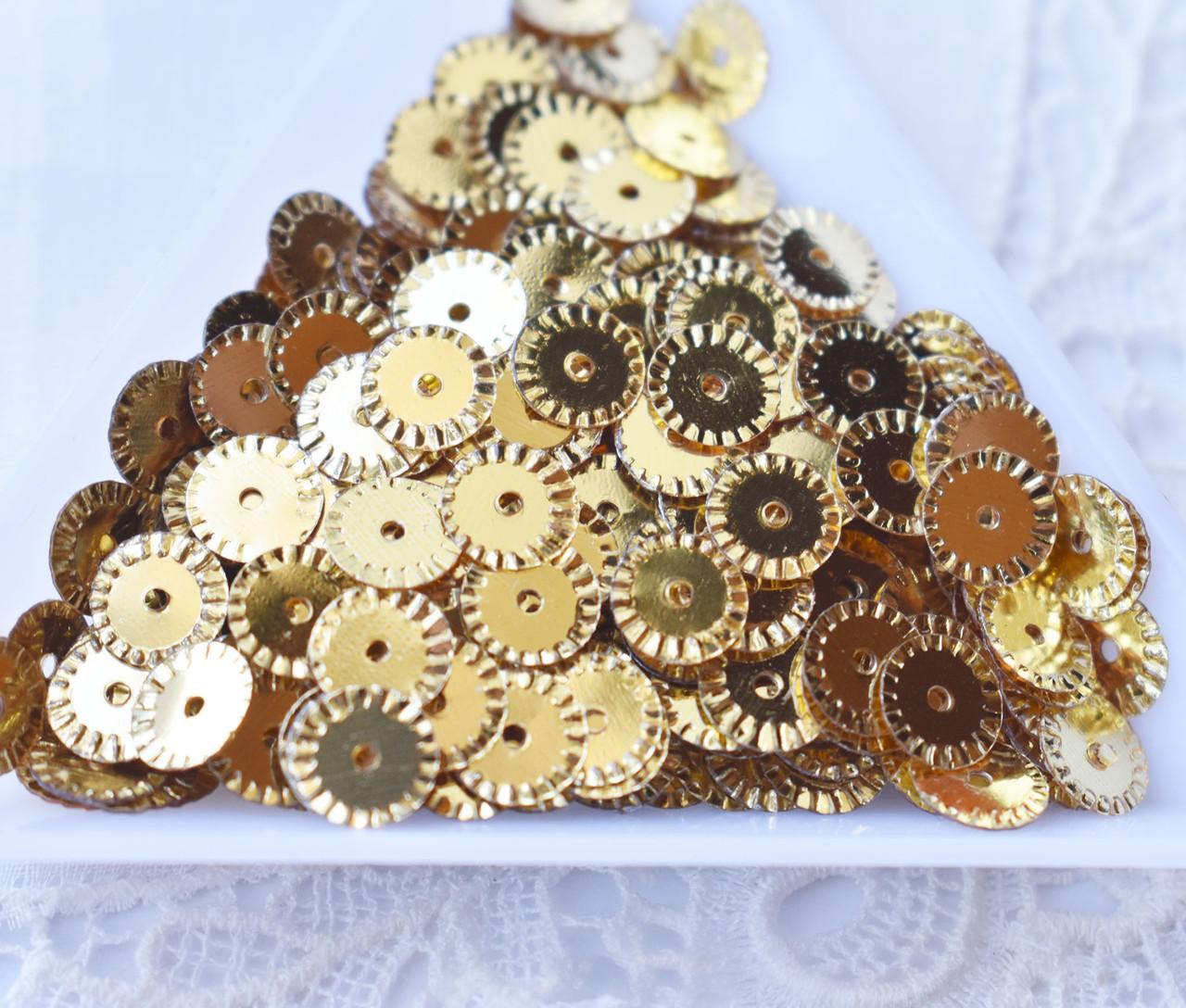 Паєтки рифлені 6 мм, золотисті , 3 грами