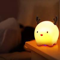"""Детский силиконовый ночник - игрушка """"Снежный Олененок"""" Розовый 3DTOYSLAMP"""