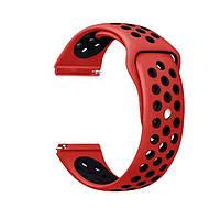 Спортивный ремешок Primolux Perfor Sport с перфорацией для часов Garmin Vivoactive 4 - Red&Black