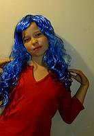 Парик синий длинный волнистый