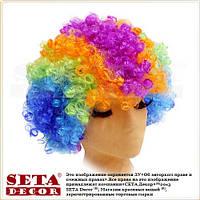 Разноцветный парик клоунский кудрявый