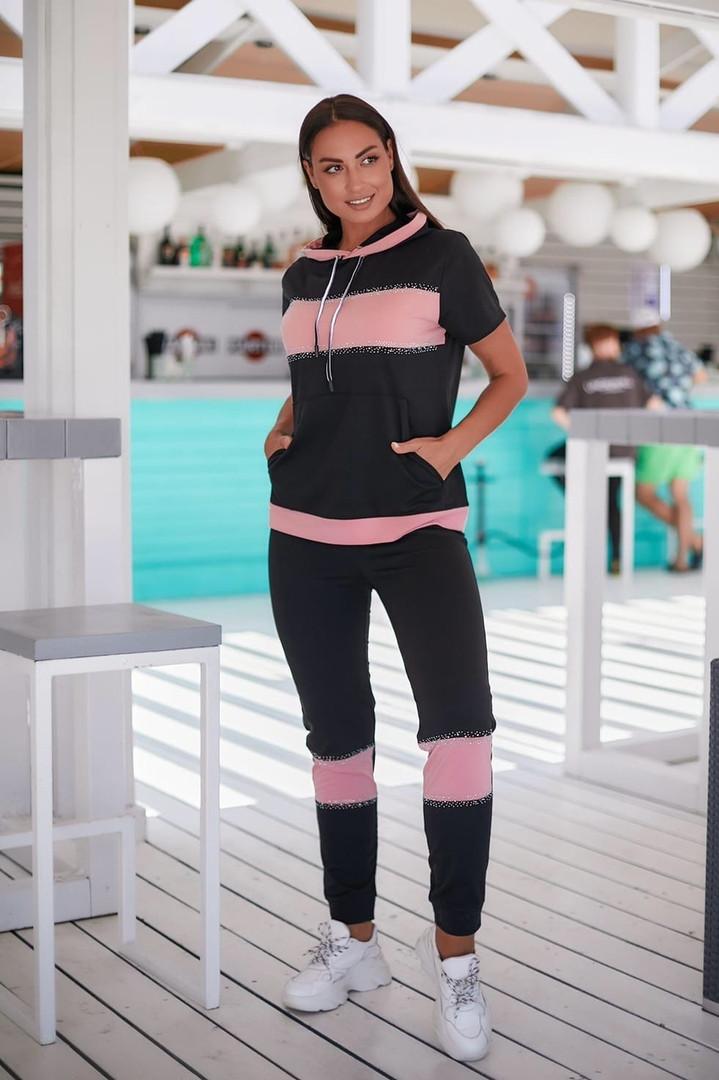 Женский летний спортивный костюм с футболкой размеры 48-50 52-54 черный