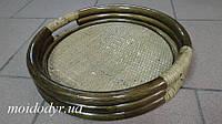 Поднос круглый из ротанга (цвет олива), фото 1
