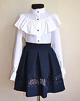 Детская школьная блузка для девочек 9 -13 лет белого цвета