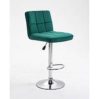 Барний стілець хокер HR8052W зелений велюр хромоване підстава, фото 1