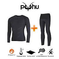 Комплект универсального мужского термобелья Puhu Active Motion Thermal, зональное термобелье для мужчин L/XL
