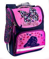Школьный рюкзак короб для девочек Бабочки с цветочками, фиолетовый, ортопедическая спинка 35*25см