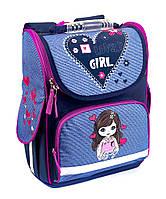 Школьный рюкзак короб для девочек Влюбленная девочка, фиолетовый, ортопедическая спинка 35*25см