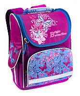 Школьный рюкзак короб для девочек Бабочки, розовый, ортопедическая спинка 35*25см