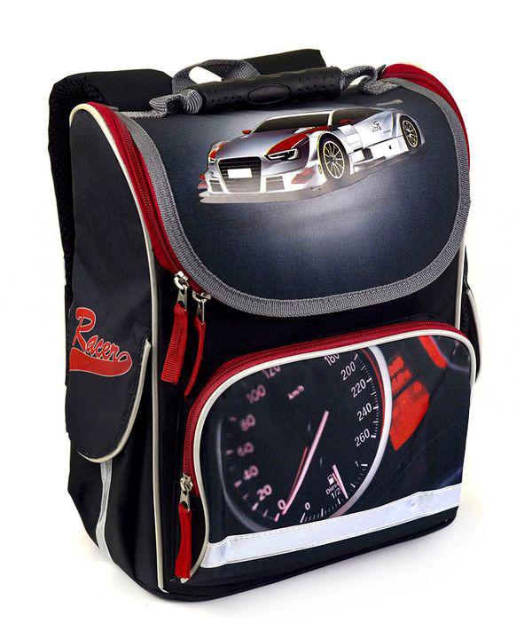 Школьный рюкзак короб для мальчиков Гонщик, ортопедическая спинка 35*25см