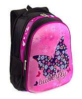 Школьный рюкзак панцирь для девочек Розовый с Бабочками ортопедическая спинка 39*29см, фото 1