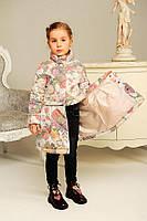 Детская   демисезонная куртка Мия на девочку  цветы рост  104-110-116-122
