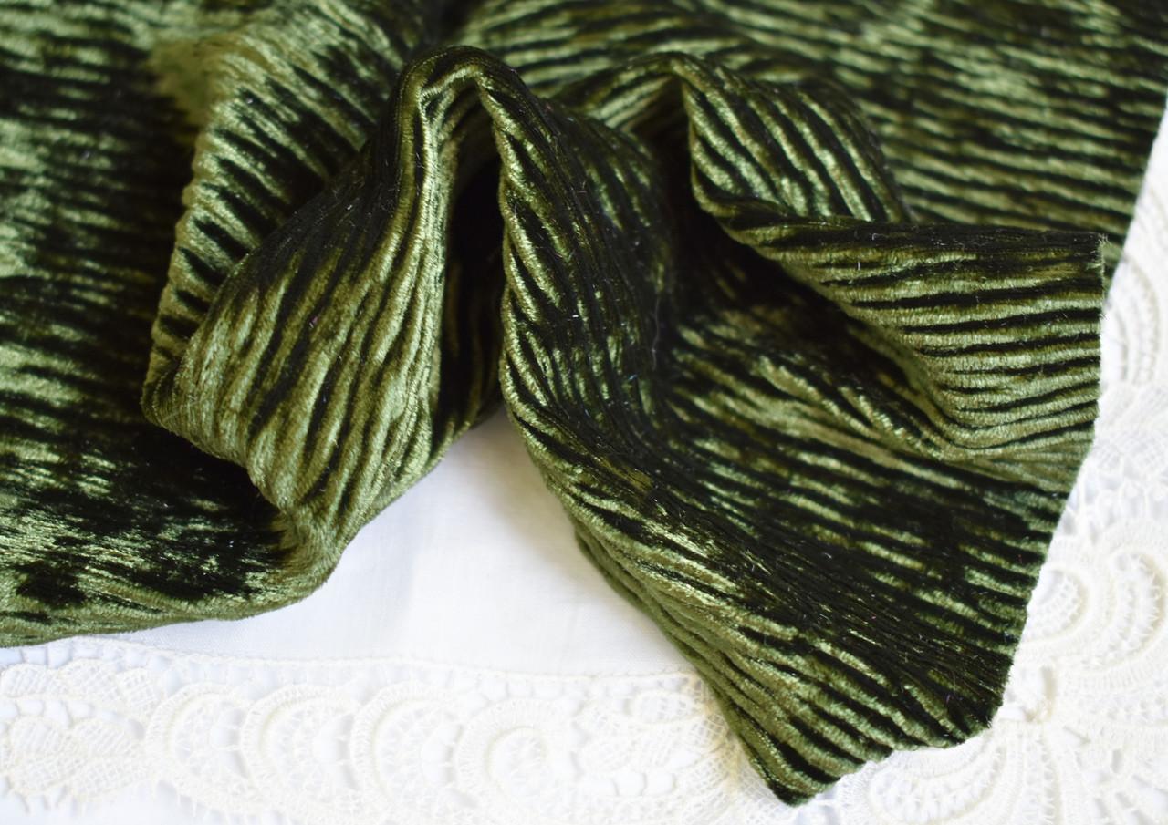 Бархат-вельвет, 20*30 см, оливковый, стрейчевый
