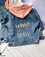Женская стильная джинсовая куртка с капюшоном, фото 1