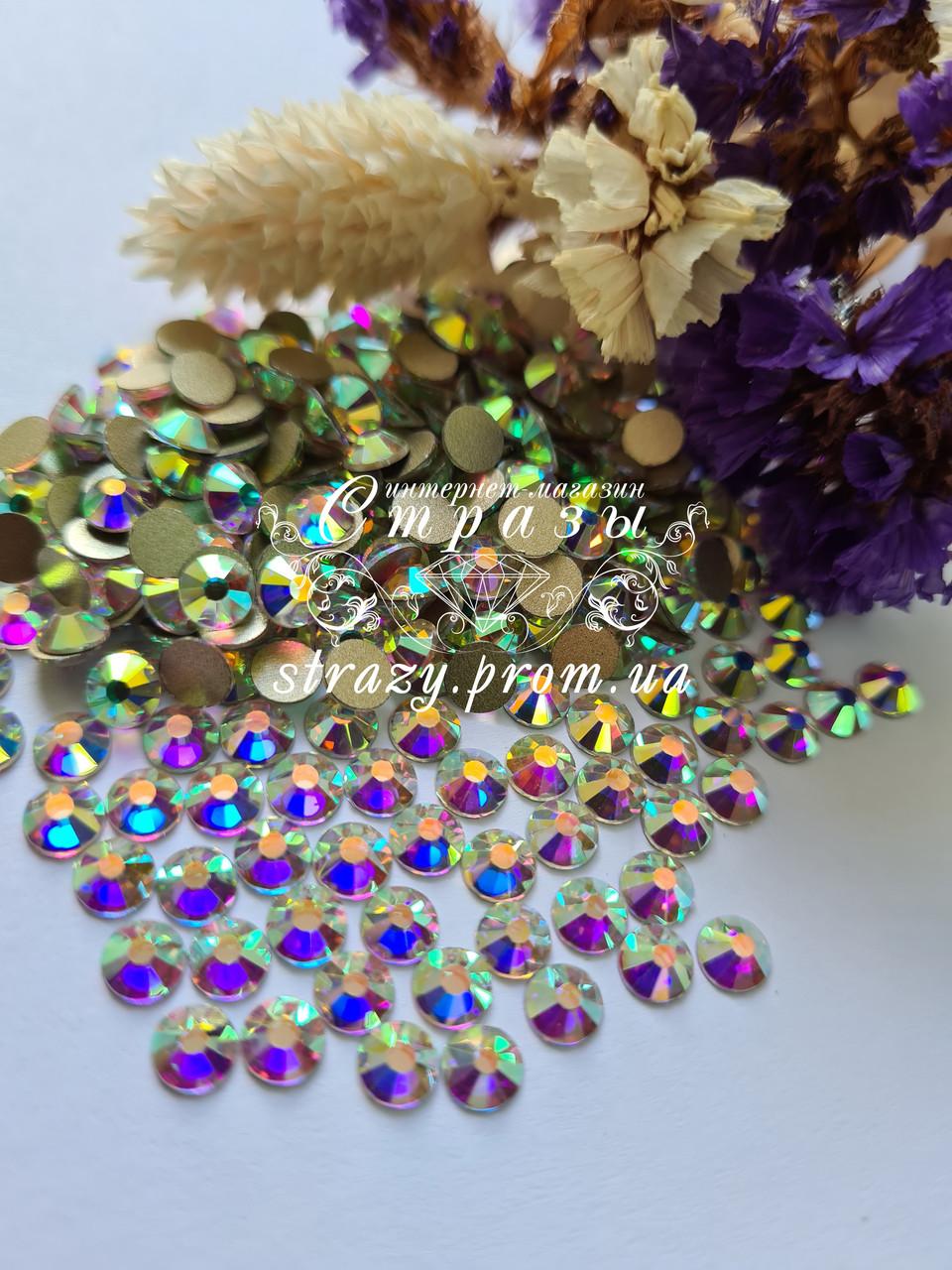 Стразы ss20 Crystal AB +++HongKong+++ (5,0мм) 100 гросс 14440шт. золотая подложка