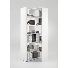 Удобный стеллаж для дома, полки, книжный шкаф из ДСП M, Белый, фото 2
