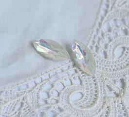 Стрази скляні Маркіз (Човник) 15*7 мм, білий Delight