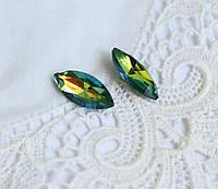 Стрази скляні Маркіз (Човник) 15*7 мм, зелений Delight