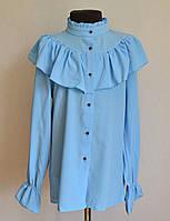 Детская школьная блузка для девочек 9-13 лет, голубого цвета