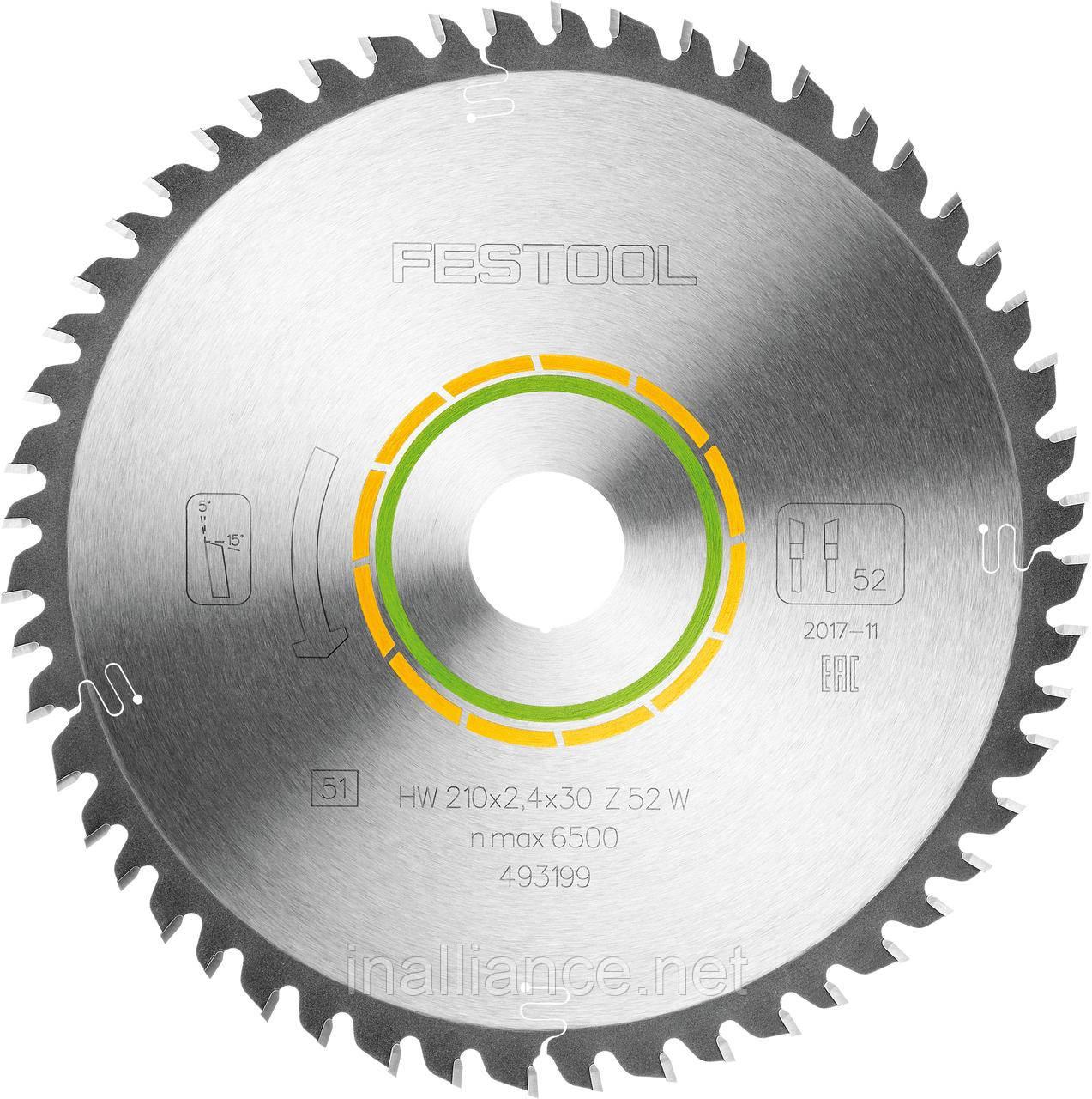 Пиляльний диск з дрібним зубом 210 x 30 х 2,4 W52 Festool 493199