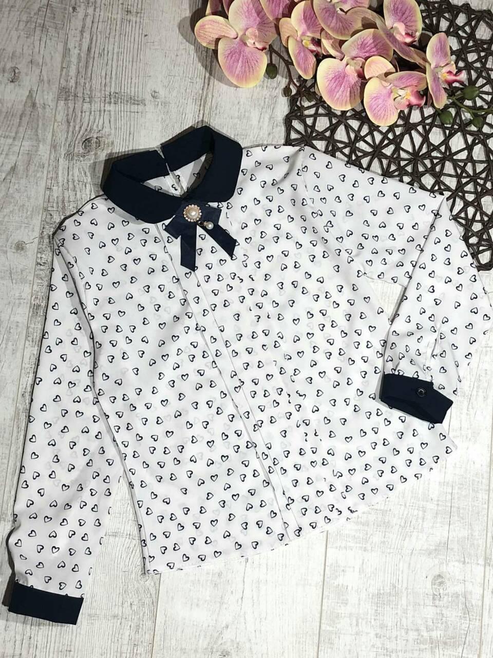 Стильная блузка для девочки с длинным рукавом в школу р. 128-146 опт