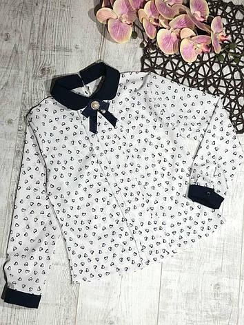 Стильная блузка для девочки с длинным рукавом в школу р. 128-146 опт, фото 2