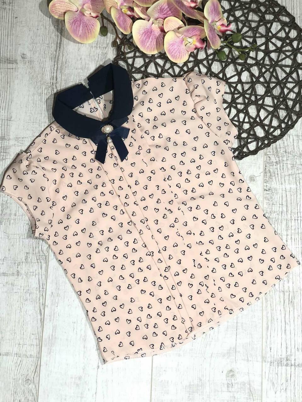 Стильная блузка для девочки с коротким рукавом в школу р. 128-146 опт