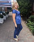 Блуза женская  синий хлопок с биссером и вышивкой БЛ 13196, фото 3
