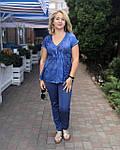 Блуза женская  синий хлопок с биссером и вышивкой БЛ 13196, фото 2