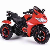 Электромобиль мотоцикл трехколесный красный сидение эко-кожа два мотора светящиеся колеса деткам от 3 до 8 лет